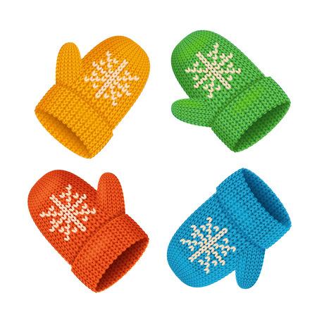 Ensemble coloré de mitaines d'hiver. Accessoire saisonnier. Illustration vectorielle Vecteurs