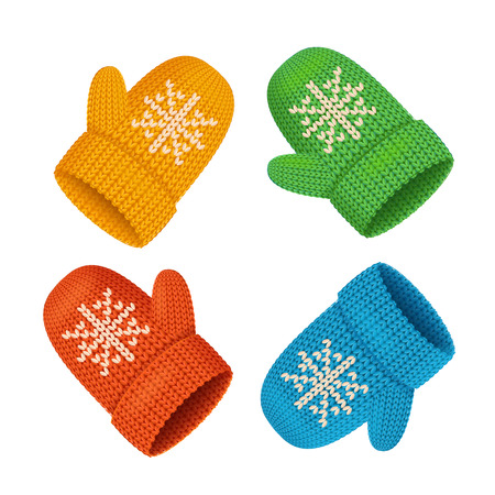 Winter Mittens Colorful Set. Seasonal Accessory. Vector illustration
