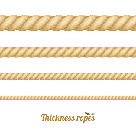 light brown background: Different Nautical Twine Brown Thickness Rope Set Isolated on a Light Background. Vector illustration Illustration