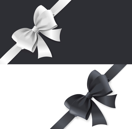 black satin: Luxury Satin Bows and Ribbons Horizontal Card. Black and White Tape. Vector illustration