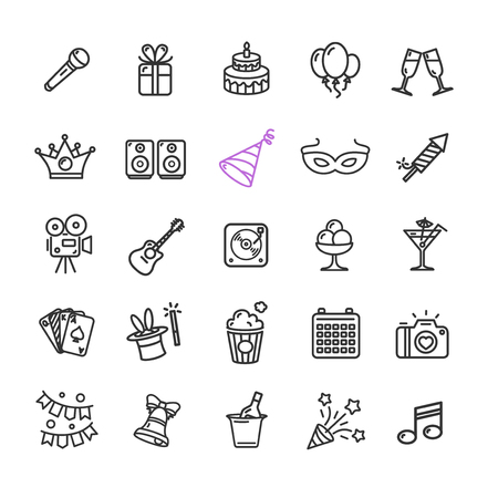 event party: Party Icon Thin Line Set for Web Pixel Perfect Art. Material Design. Vector illustration