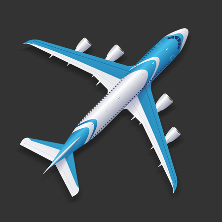 jet airplane: Realistic Airplane Template Top View Passenger or Commercial Jet on a Background. Vector illustration Illustration