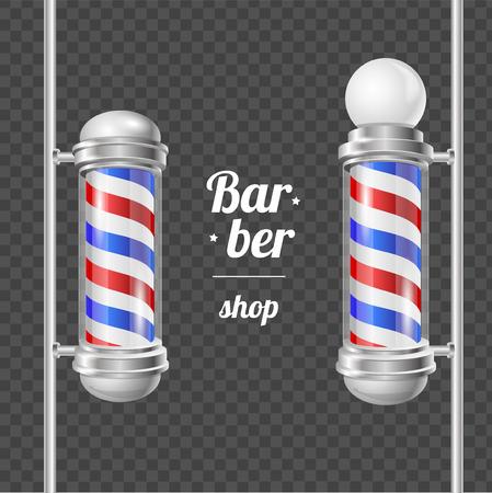 groomer: Barber Shop Pole Services Shaving and Haircuts Concept on Transparent Background Barbershop Design Elements. Vector illustration Illustration
