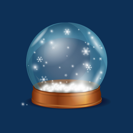 Crystall Ball Snow on Blue Background Glass Sphere with Snowflakes. Vector illustration
