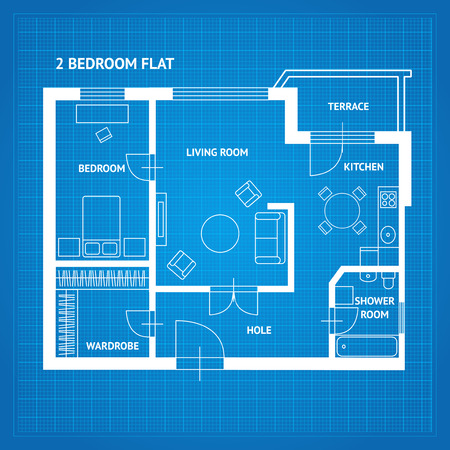 floorplan: Apartment Floor Plan Blueprint with Furniture Top View. Vector illustration Illustration