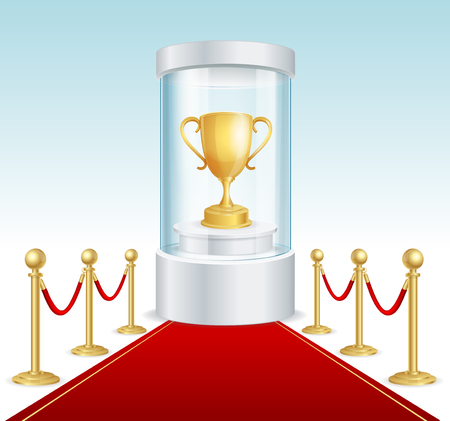 glass cup: Round Glass Showcase with Golden Cup and Red Carpet. Cylinder for Award Ceremonies. Vector illustration