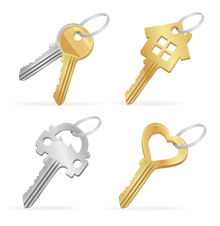 Different Keys Set to the House, Car, Heart Property Concept. Vector illustration Illustration
