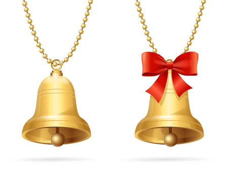 Gold Ring Bells with Red Bow Hanging Chain. Vector illustration