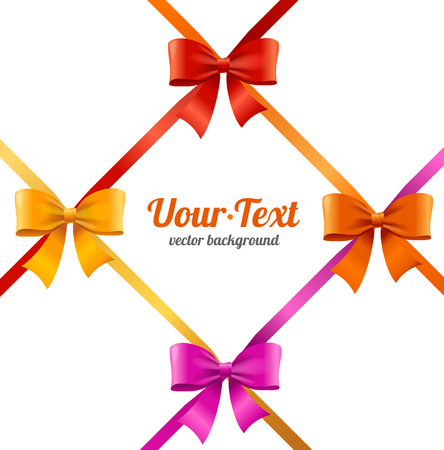 Present Satin Ribbon and Bow Card or Invitation with Place for Your Text. Celebration Holiday Vector illustration