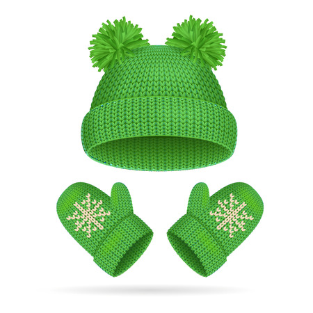 mitten: Green Hat with a Pompom and Mitten Set Warm Clothing for Cold. Vector illustration Illustration