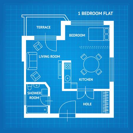 아파트 층 계획 청사진 상위보기입니다. 가정의 기본 방. 벡터 일러스트 레이 션