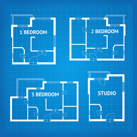 kitchen studio: Apartment Floor Plan Unfurnished Set Blueprint Design Elements. Vector illustration