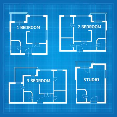 Piano piano piani non arredato Set Blueprint Elementi di design. Illustrazione vettoriale