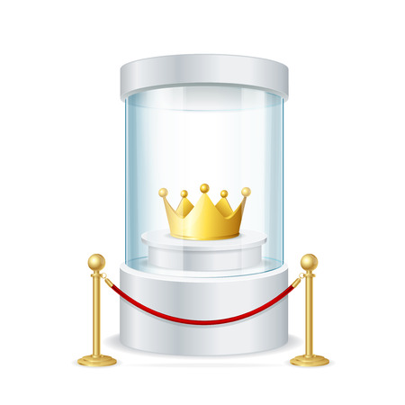 rope barrier: Realistic Round Glass Showcase with Gold Crown and Red Rope Barrier for Your Design. Vector illustration
