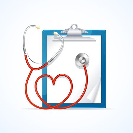 forme et sante: Médical Concept Diagnostic Health Care Stéthoscope In Shape Of Heart et Presse-papiers. Vector illustration