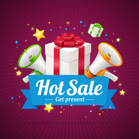 hot announcement: Winter Hot Sale Announcement Card with Present Boxes and Megaphone or Loudspeaker . Vector illustration