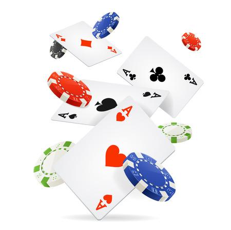 Carte da gioco e chip di mazza Fly. Vettore Vettoriali