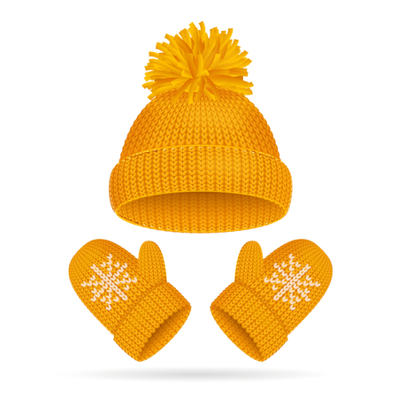 Hat with a Pompom and Mitten Set. Vector