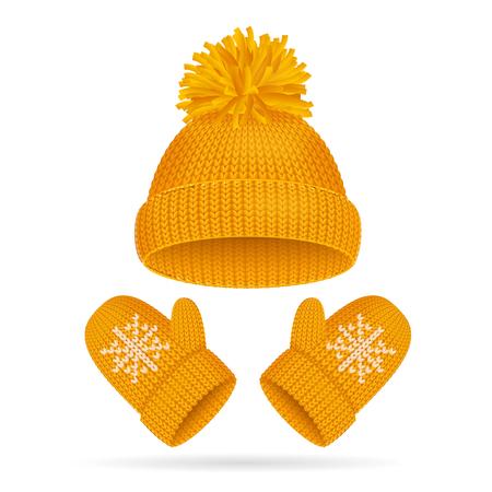 Sombrero con un conjunto de pompones y mitones. Vector