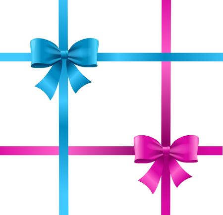 blue bow: Present Satin Ribbon and Bow. Vector