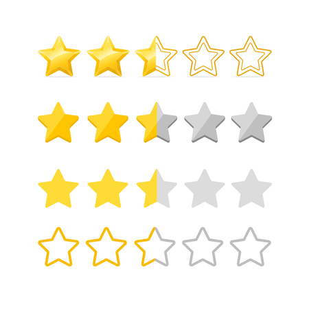 Rating Stars Set. Vector Çizim