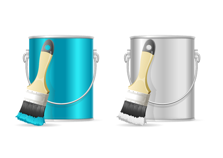 paint tin: Steel Can Bucket and Paint Brush. Vector