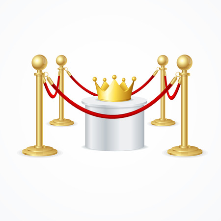 barrier rope: Gold Crown and Red Rope Barrier. Vector
