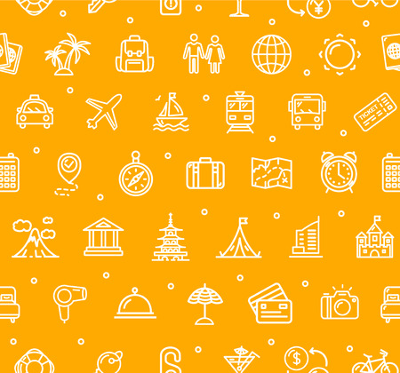 background: Travel and Tourism Background Pattern. Vector Illustration