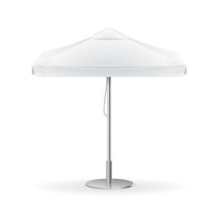 outdoor advertising: Promotional Square Advertising Outdoor White Umbrella. Vector