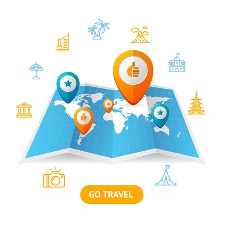 booking: Go Travel Booking Concept. Vector Stock Photo
