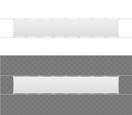 blank banner: Realistic Blank Banner Textile Set. Vector