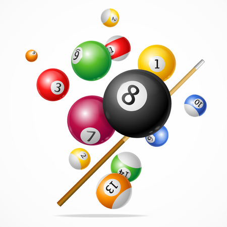 game of pool: Billiard Ball Concept. Vector Stock Photo