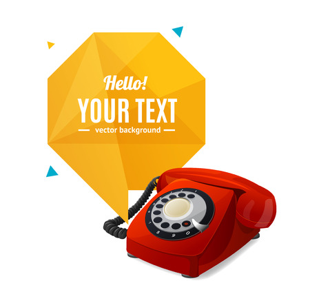 ringer: Rotary Telephone with Bubble Speech. Vector Illustration