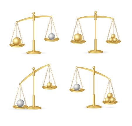 outweigh: Balance Concept Set. Vector Illustration
