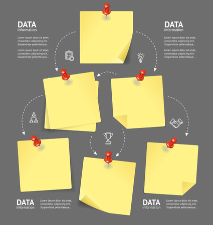 Business Plan with Blank Note and Pushpins. Vector Vetores