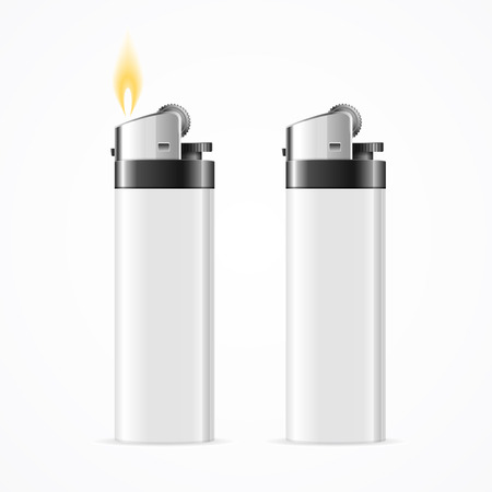 gas lighter: Realistic Template Blank White Lighter. Vector Stock Photo