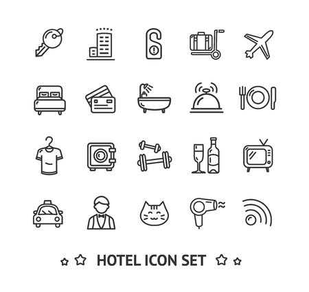 Hôtel Icon Thin Line Set. Vecteur Vecteurs