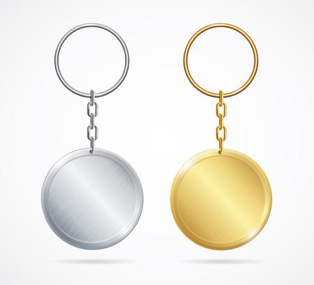 Realistic Metal Keychains Set. Vector Illustration