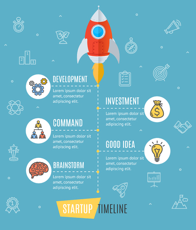 business space: Space Ship Start Up Infographic Business Concept with Rocket Development and Investment. Vector illustration