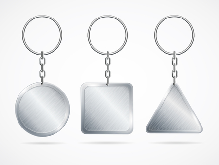 keychains: Realistic Metal Keychains Set. Vector Stock Photo