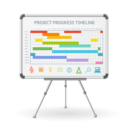 Gantt Progress Line and Flip Chart White Board. Vector