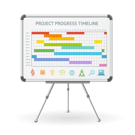 Gantt Progress Line and Flip Chart White Board. Vector