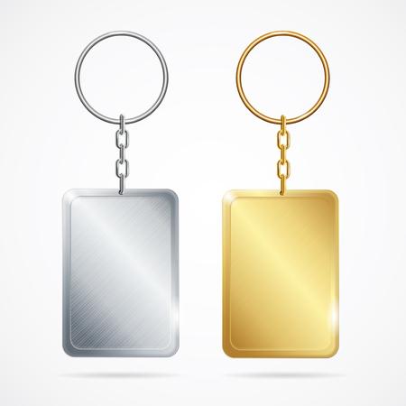knickknack: Realistic Metal Keychains Set. Vector Illustration