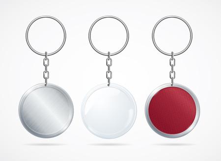 knickknack: Realistic Metal and Plastic Keychains Set. Vector Illustration