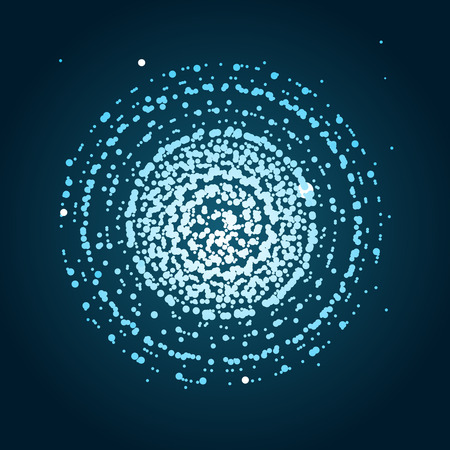 Blue Round Sphere Dotted Background. Illustration
