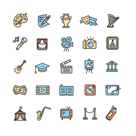 Culture and Creative Fine Art Icons Set. Vector