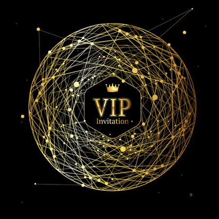 Golden Vip Round Sphere Dotted Mesh Background. Vector
