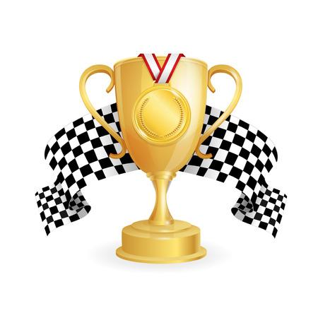 Gouden beker, medaille en geblokte racevlagauto.