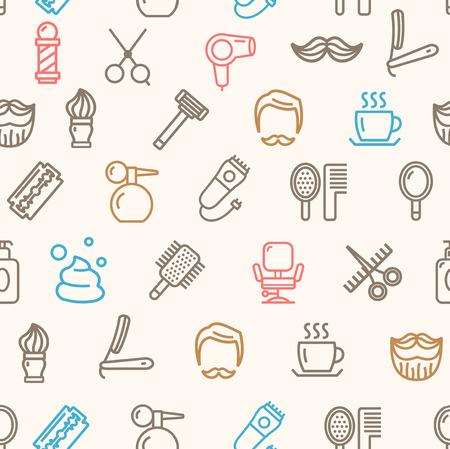 barber shop: Barber Shop Pattern Background. Vector