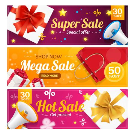 sell: Big Sale Banner Card Horizontal Set. Vector Illustration